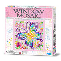 Игра Cделай сам для детей рукоделие хендмейд 4M Мозаика на окно (3 в ассорт. бабочка/дельфин/котенок)