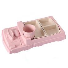 Детская бамбуковая посуда Поезд, набор из 2-х тарелок и чашки BP17 Train Pink SKL25-149774