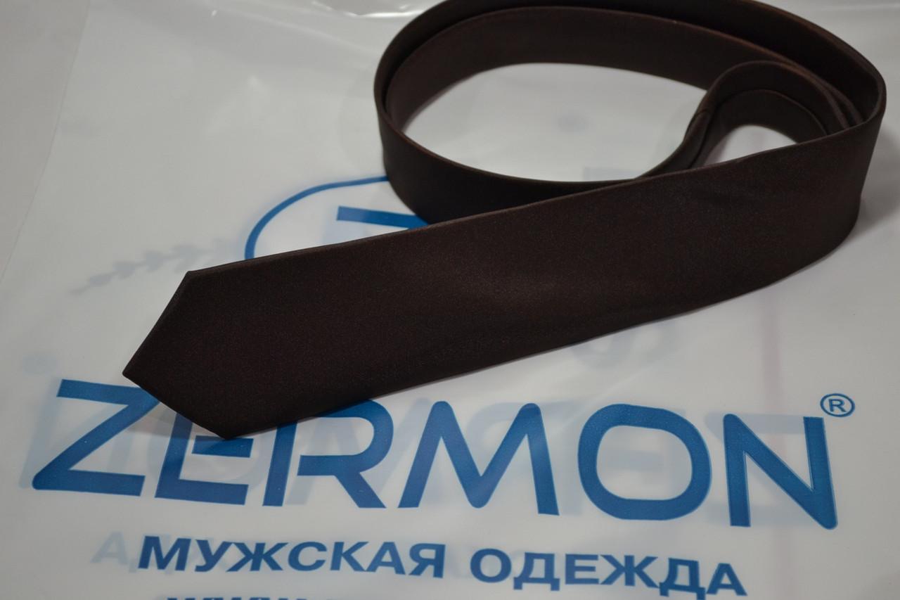 Узкий коричневьій галстук ZERMON  (5,5cм)