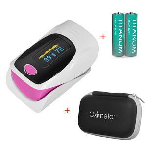 Пульсоксиметр OLV-80A-302A - Розовый + Чехол-футляр с отделом для батареек