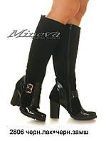 Сапоги женские натуральный лак и замш на каблуке