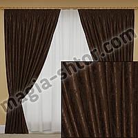 Шторы на тесьме, ткань мрамор, цвет коричневый