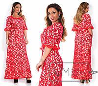 Длинное платье гипюровое с рукавом-воланом