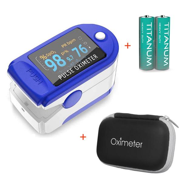 Пульсоксиметр LK-88 Цветной OLED дисплей - Синий + Чехол-футляр с отделом для батареек