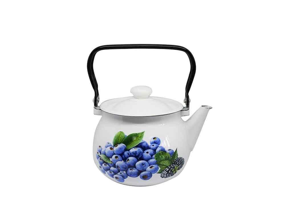 Чайник эмалированный Idilia Черника 2,5 л молочный (I2710/2)
