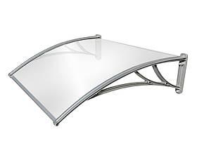 Козырек TanDem 1500х930х280 мм серебристый с монолитным поликарбонатом 3 мм опал SKL54-240953