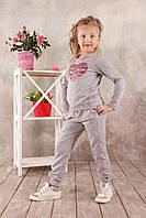 Детские спортивные брюки для девочки (серый меланж)
