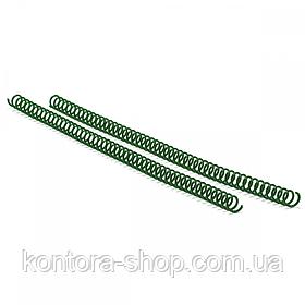 Спіраль пластикова А4 16 мм (4:1) зелена, 100 штук