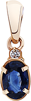 Кулон золотой с бриллиантом и сапфиром