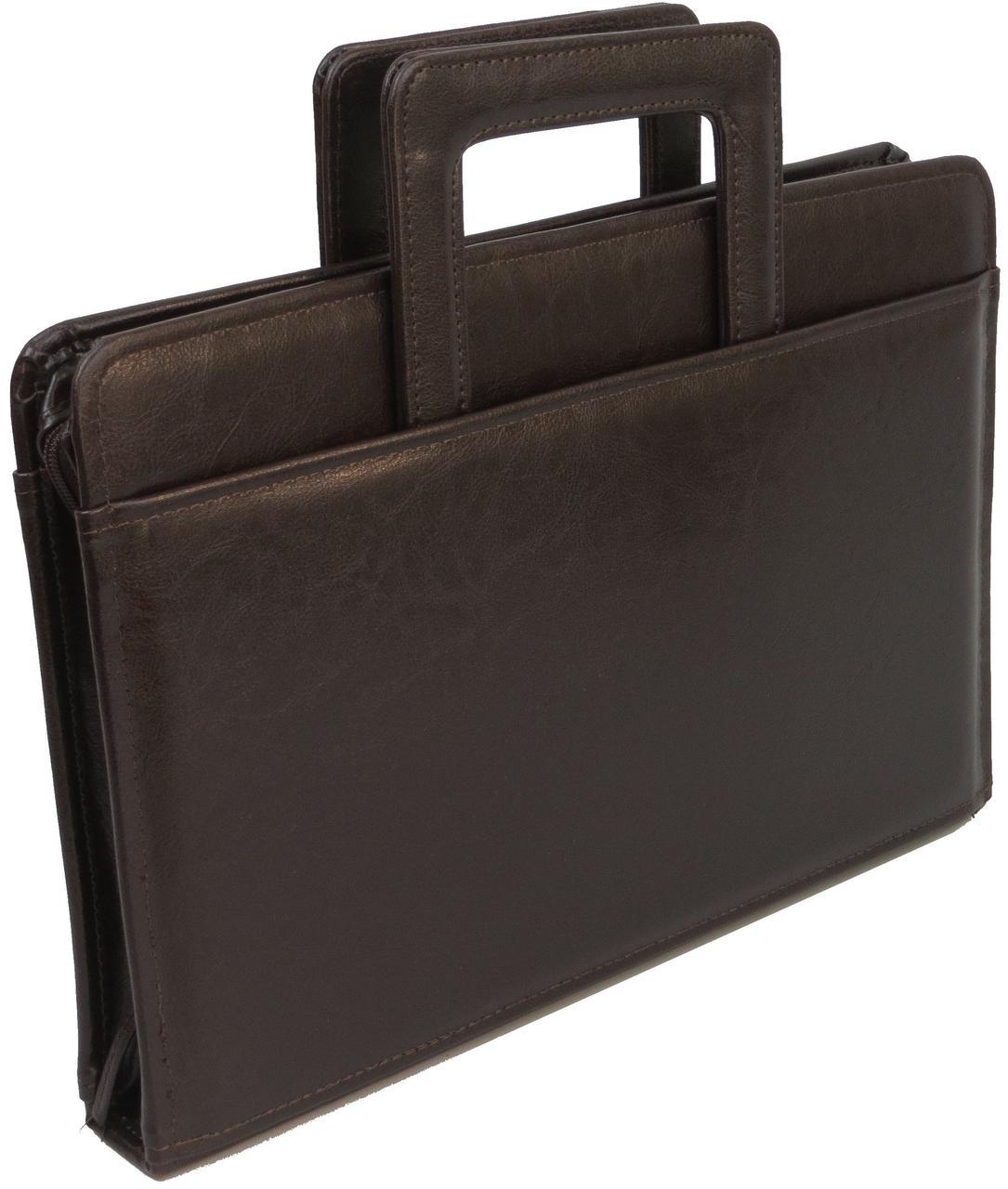Деловая папка-портфель JPB, AK-13 коричневого цвета из эко кожи