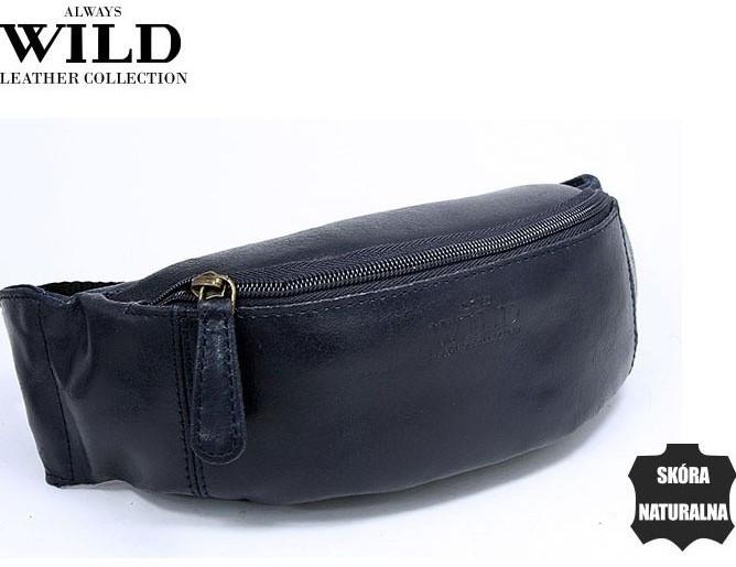 Кожаная сумка на пояс  Always Wild WB01SP navy, синяя