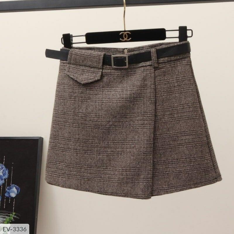 Теплые шорты-юбка твид