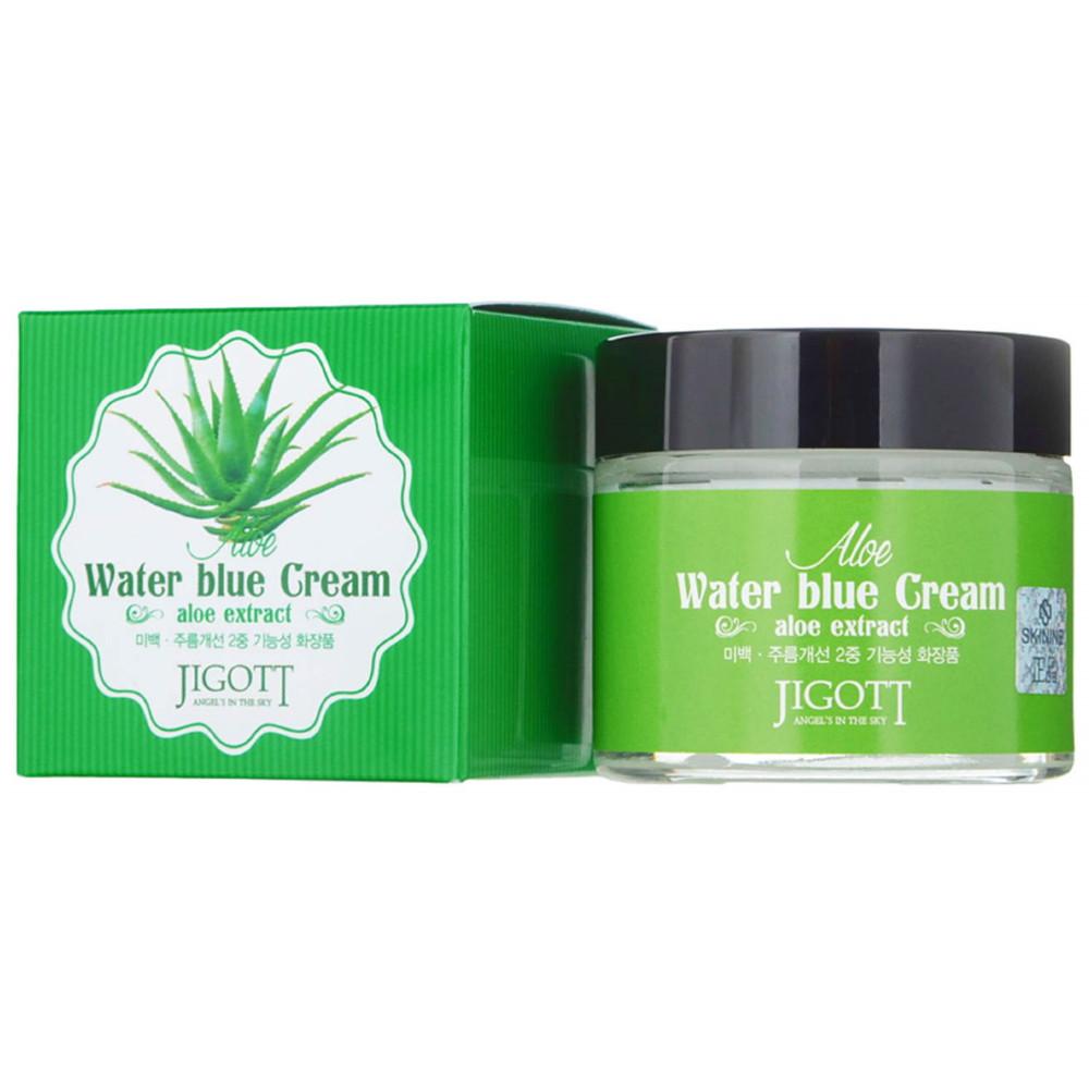Успокаивающий крем для лица с экстрактом алоэ Jigott Aloe Water Blue Cream 70 мл