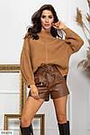 Женские кожаные шорты со шнурком, фото 5
