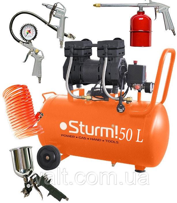 Компрессор безмасляный Sturm AC93250O 50 л, 1.5 кВт, 8 атм, 209 л/мин, малошумный, 2 цилиндр +Пневмоинструмент