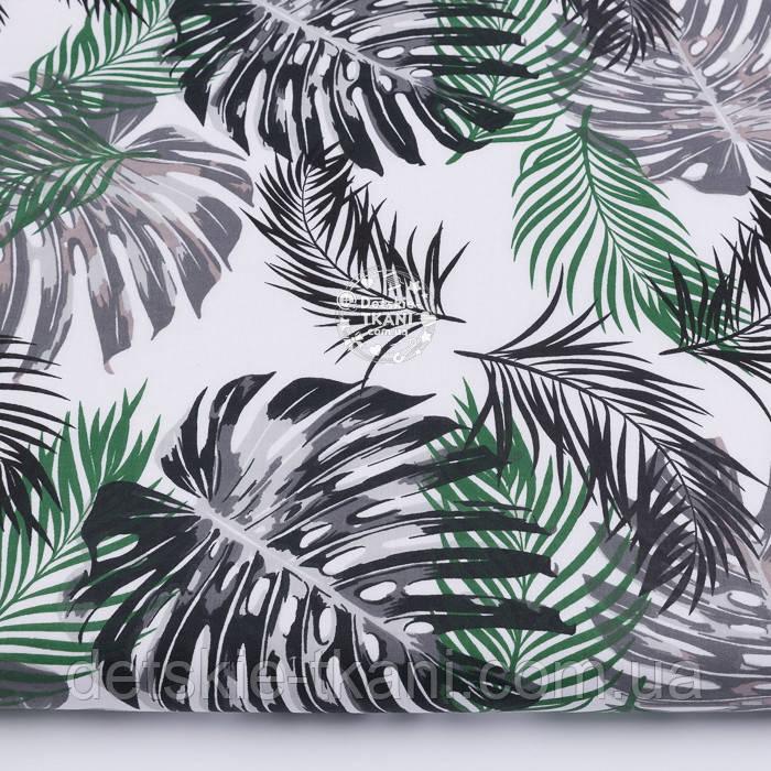 """Бязь польская """"Листья пальмы"""" серые и зелёные на белом, №3215а"""