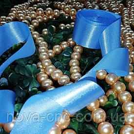 Ленты атлас голубой 25 мм 1 м