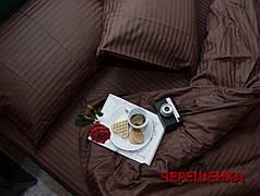 Полуторный набор постельного белья 150*220 из Страйп Сатина №501420 Черешенка™