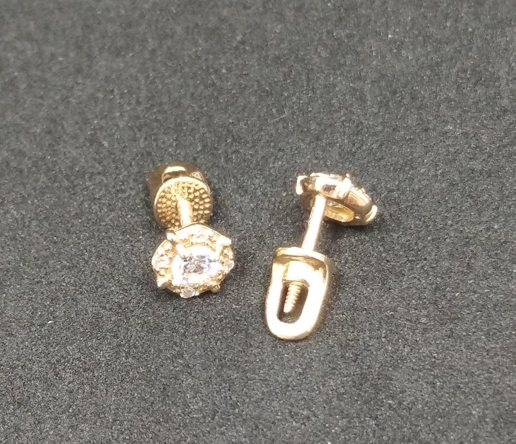 Золотые серьги-пуссеты с фианитами Б/У 585 пробы, вес 1,18г