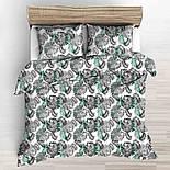 """Бязь польская """"Листья пальмы"""" серые и зелёные на белом, №3215а, фото 3"""