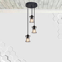 Подвесная люстра на 3-лампы SANDBOX-3G E27 на круглой основе, чёрный, фото 1