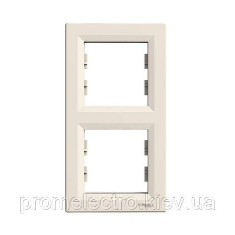 Рамка Schneider-Electric Asfora 2-постовая вертикальная кремовый (EPH5810223), фото 2