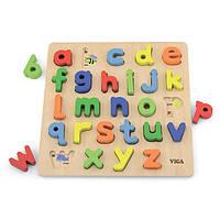 Деревянный пазл для детей Английский алфавит, строчные буквы