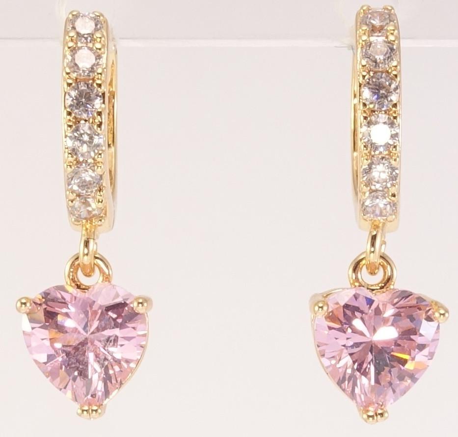 """Серьги M&L желтый оттенок подвески на  колечках """"Розовые кристальные сердечки на колечках с цирконием"""""""