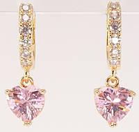 """Серьги M&L желтый оттенок подвески на  колечках """"Розовые кристальные сердечки на колечках с цирконием"""", фото 1"""