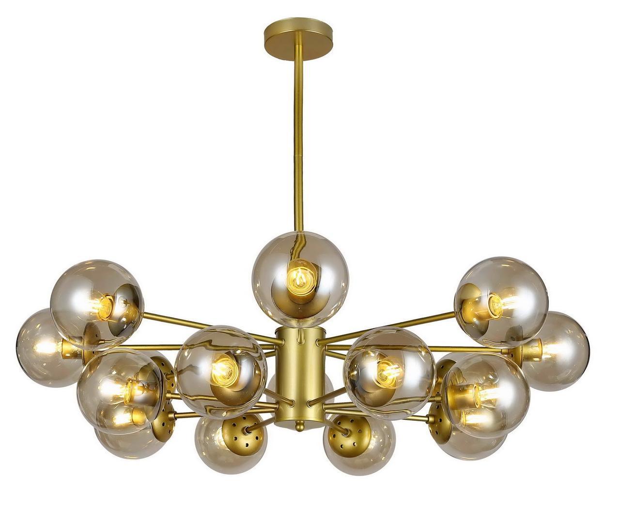Люстра подвесная на 16 плафонов на золотистом основании в стиле loft  7526033-16 GD+CL