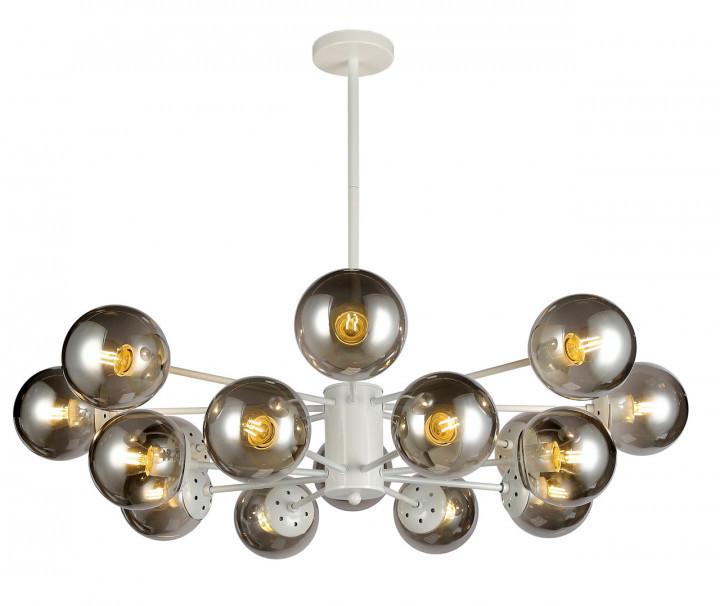 Люстра подвесная на 16 плафонов на белом основании в стиле loft  7526033-16 WH+BK