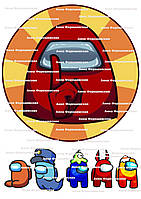 Вафельная картинка among us амонг ас круглая на торт для торта пищевая печать съедобная бумага 1 амонгас