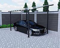Навес для автомобиля из поликарбоната Oscar Strong 3000х5160х2809 мм двойной слой молотковой краски, сотовый