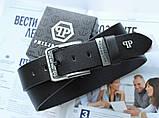 Мужской кожаный ремень Philipp Plein 21888 черный, фото 2
