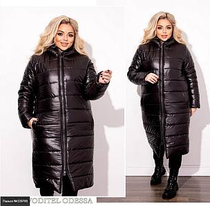 Зимняя стеганая куртка женская черного цвета батал Минова Размеры: 50-52, 54-56, 58-60