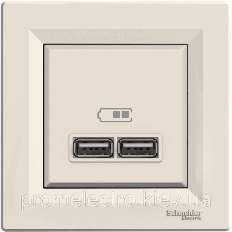 Розетка Schneider-Electric Asfora USB кремовый (EPH2700223)