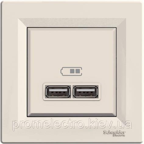 Розетка Schneider-Electric Asfora USB кремовый (EPH2700223), фото 2