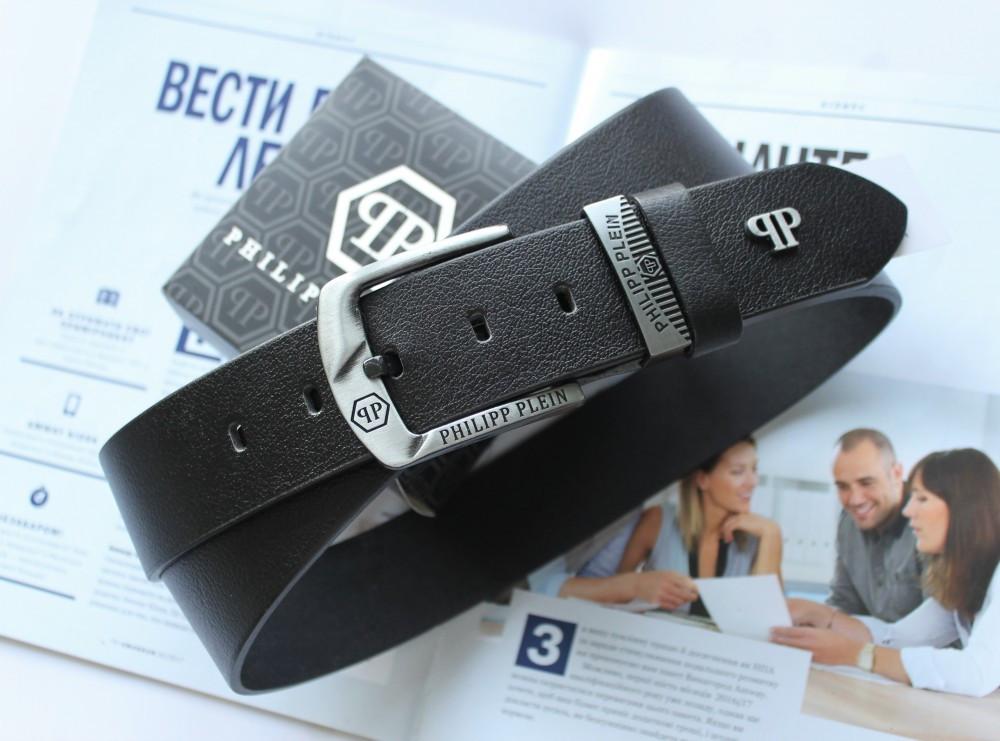 Мужской кожаный ремень Philipp Plein 21890 черный