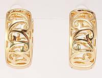 """Серьги M&L желтый оттенок колечки """"Декоративный вензельный орнамент"""", фото 1"""