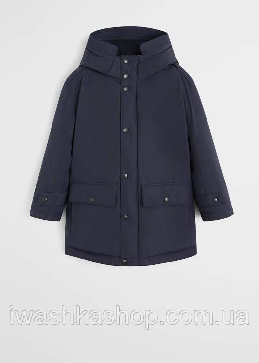 Водоотталкивающая синяя куртка еврозима на мальчика 10 лет, р. 140, Mango