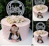 Топпер Happy Birthday в круглом ободке Пластиковый черный топпер в круге на торт Топперы из пластика в торт, фото 3