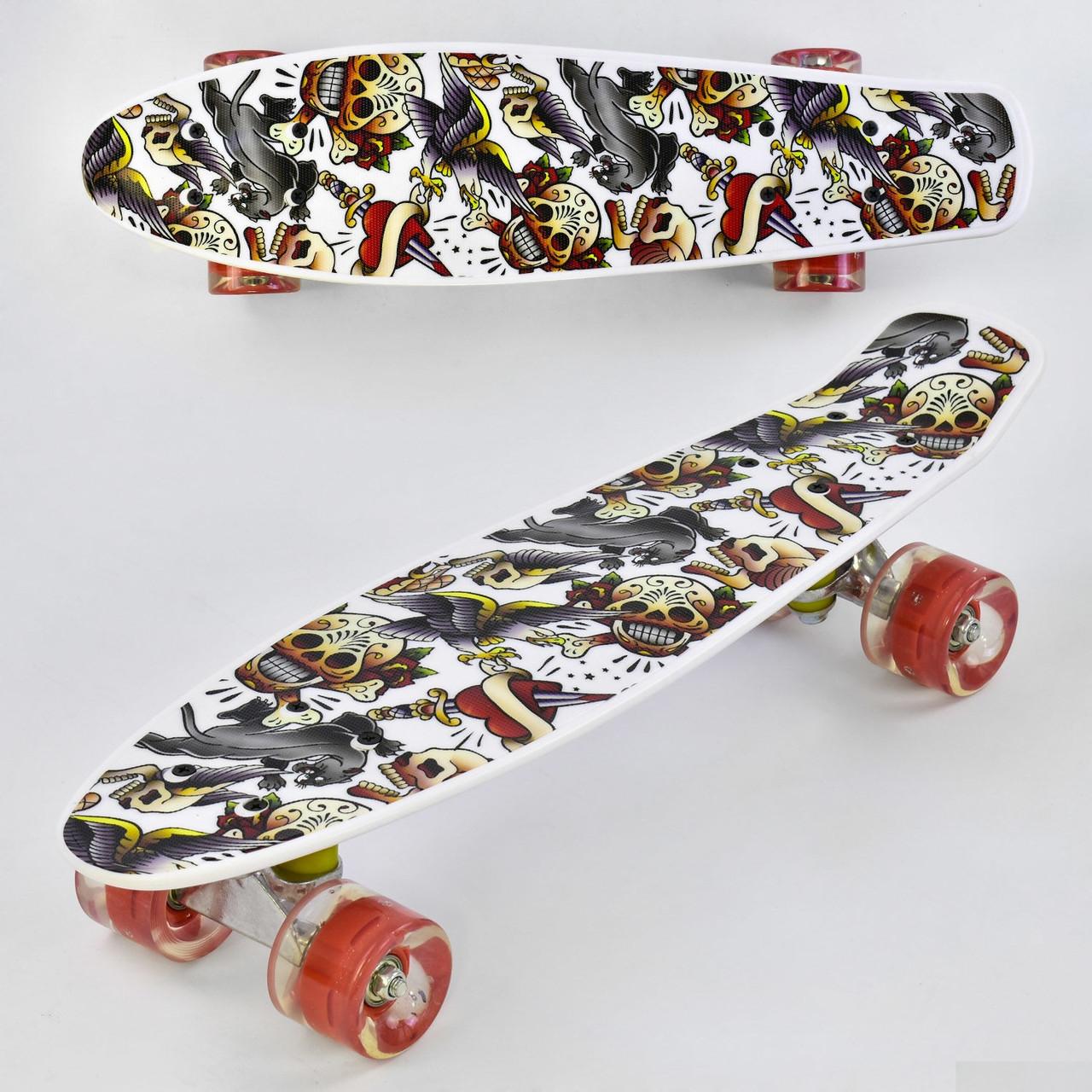 """Скейт Пенні борд (Penny Board) 22"""" Best Board колеса PU, світяться, d=6 см, дошка=55 см"""