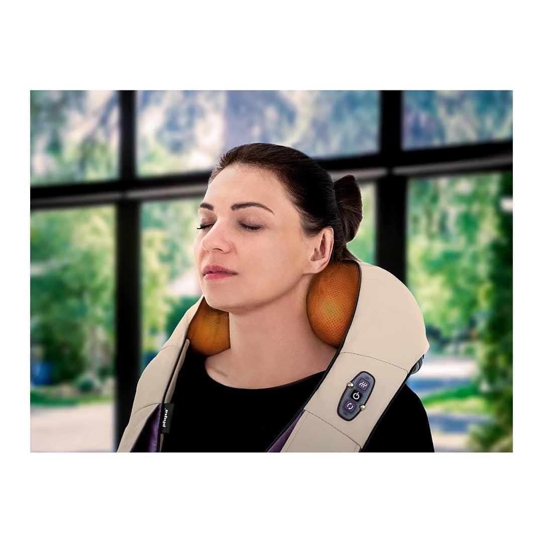 Массажер подушка для шеи и спины, расслабление, лечение, укрепление мышц, профилактика остеохондроза,