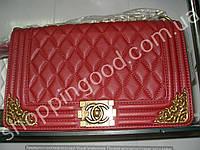 Женская сумка клатч Chanel Boy 013561 большая 30 см бордовая с бронзой