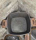 Набор кастрюль 22/26/30см LEXICAL антипригарное гранитное покрытие, 6 предметов, Choco, фото 3