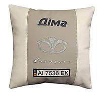 Декоративная авто подушка с вышивкой логотипа Daewoo део подарок корпоративный