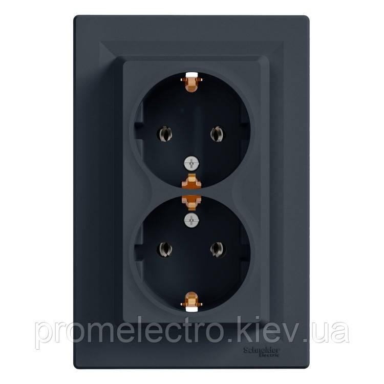Розетка Schneider-Electric Asfora Plus двойная с заземлением антрацит (EPH9900171)