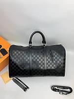 Дорожная сумка Louis Vuitton черного цвета|Дорожная мужская женская сумка Луи Виттон кожаная|Спортивная сумка