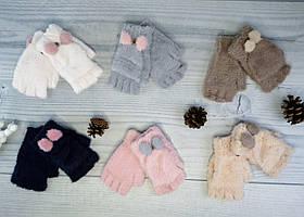 Рукавички для дівчаток (мітенки з накидкою) Ангорові Вушка 5-15 років 25-22(5-15)