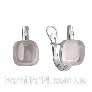 Серебряные серьги с натуральным розовым кварцем